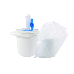 Atex Polyester Pre-Sat Roll of Cleanroom Wipers, Bucket & Lid
