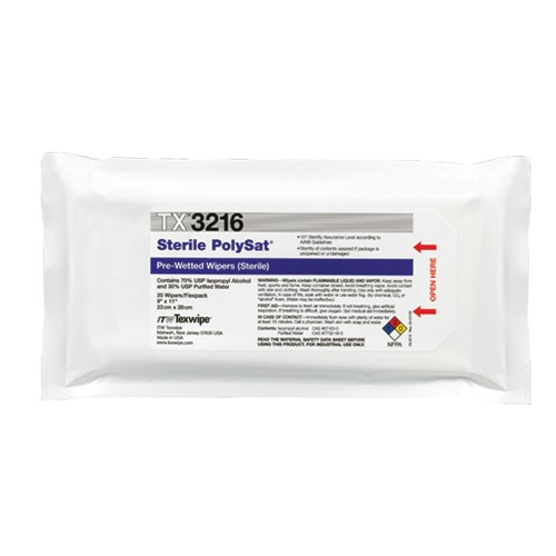 "TX3216 Texwipe Sterile PolySat 9""x11"" Cleanroom Wipers 70% IPA"