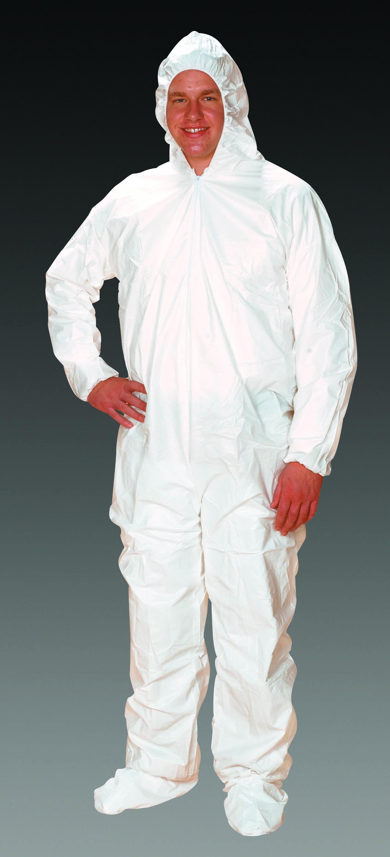 ComforTech Microporous Cleanroom Coveralls with Elastic Hood, Elastic Wrist/Ankle, AquaTrak Boots