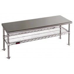 Gowning Benches with Standard Undershelf, Solid Top