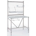 Metro Cleanroom Stainless Steel Perforated Top Table with Overhead Rear Post