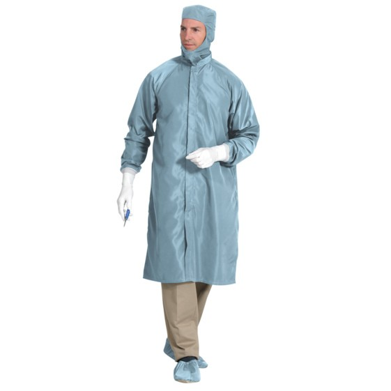 Reusable Polyester Cleanroom Frocks with Snap Closure - Blue