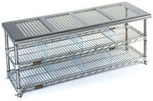 Gowning Benches with Standard Undershelf, Perforated Top