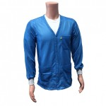 ESD Anti-Static Jacket with Lapel Collar and Knit Cuffs