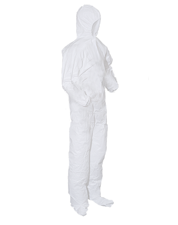SMS Cleanroom Coveralls with Hood, Elastic Wrists/Ankles/Back, Boots