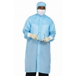 Cleanroom Polyester Frock with Zipper and Lower Snap