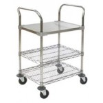 Cleanroom Utility Cart - Solid Shelf