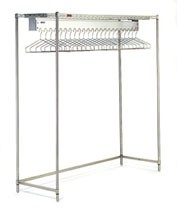 Cleanroom Gowning Rack with Wire Shelving Components - Hanger Slots