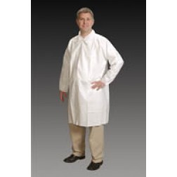ComforTech Cleanroom Lab Coats with Tapered Collar, Elastic Wrist