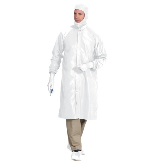 Reusable Polyester Cleanroom Frocks with Snap Closure - White