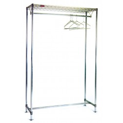 Cleanroom Gowning Rack with Wire Shelving Components - Hanger Tube 7001GRWT