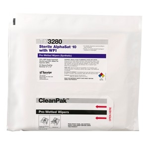 "TX3280 Texwipe Sterile AlphaSat 12""x12"" Cleanroom Wipers 70% IPA"