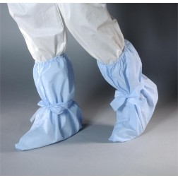 AquaTrak Cleanroom Boot Covers with Elastic Top, Ankle Ties, Sonic Welded Seams